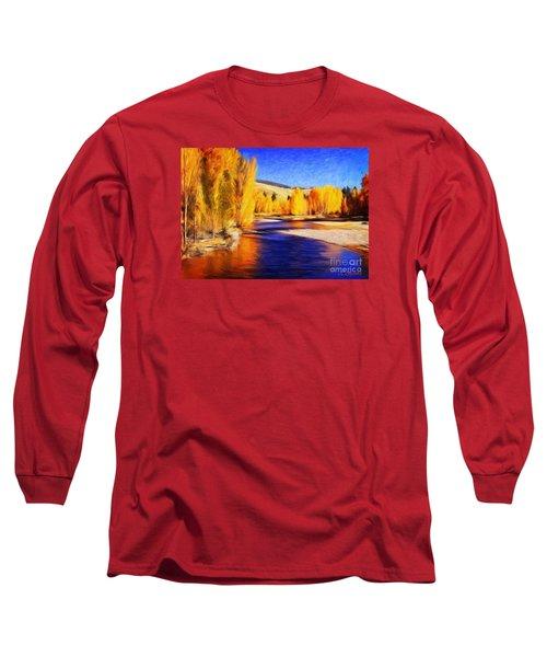Yellow Bend In The River II Long Sleeve T-Shirt by Joseph J Stevens