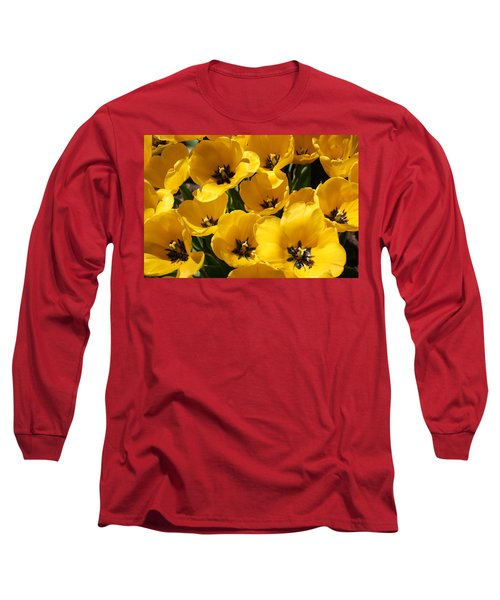Long Sleeve T-Shirt featuring the photograph Golden Tulips In Full Bloom by Dora Sofia Caputo Photographic Art and Design