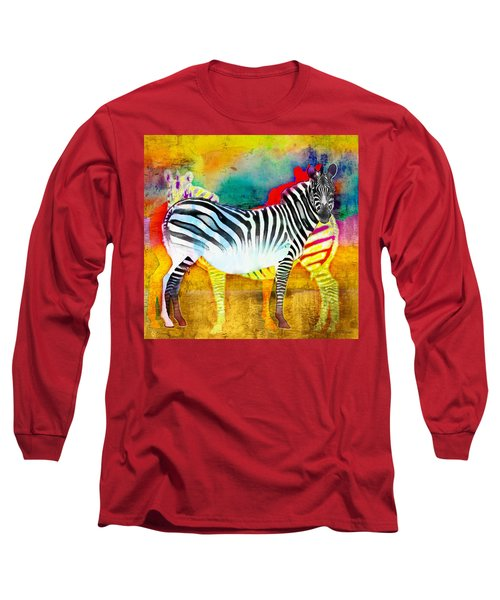Zebra Colors Of Africa Long Sleeve T-Shirt by Barbara Chichester
