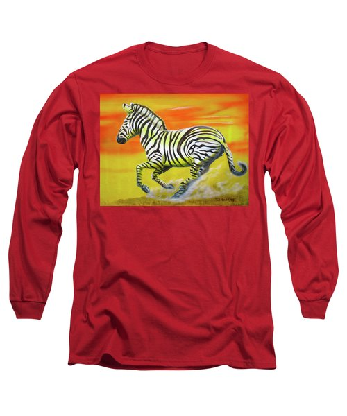 Zebra Kicking Up Dust Long Sleeve T-Shirt