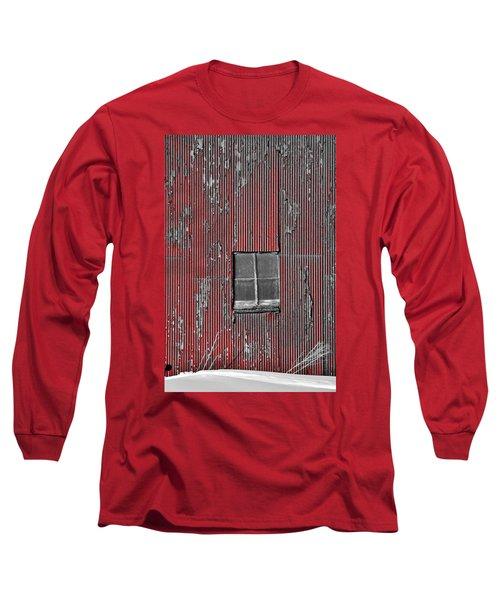 Zink Rd Barn Window Bw Red Long Sleeve T-Shirt by Daniel Thompson