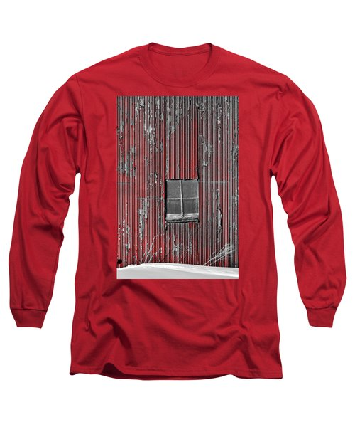Zink Rd Barn Window Bw Red Long Sleeve T-Shirt