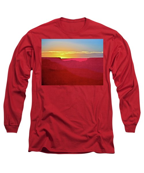 Long Sleeve T-Shirt featuring the painting   Sunset At Grand Canyon Desert View by Bob and Nadine Johnston