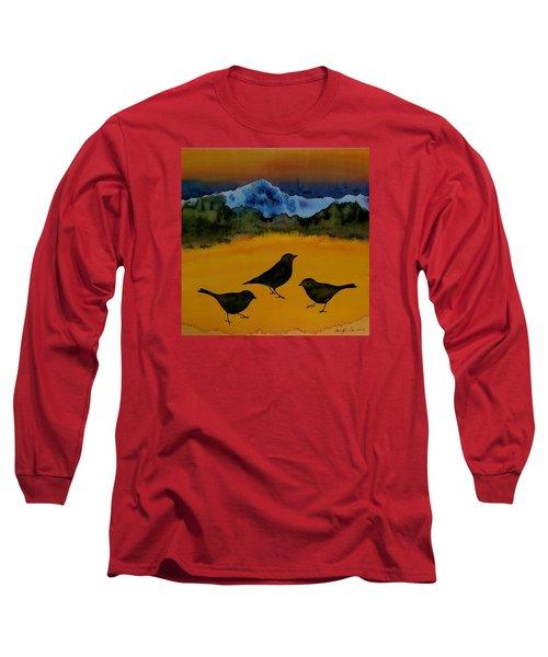 3 Blackbirds Long Sleeve T-Shirt by Carolyn Doe