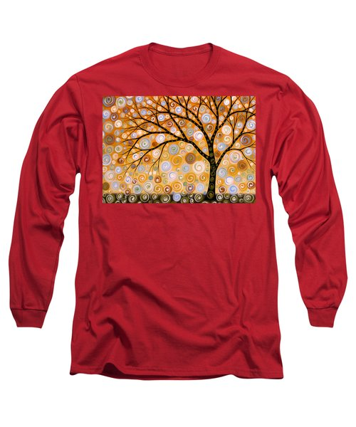 Long Sleeve T-Shirt featuring the painting Abstract Modern Tree Landscape Dreams Of Gold By Amy Giacomelli by Amy Giacomelli