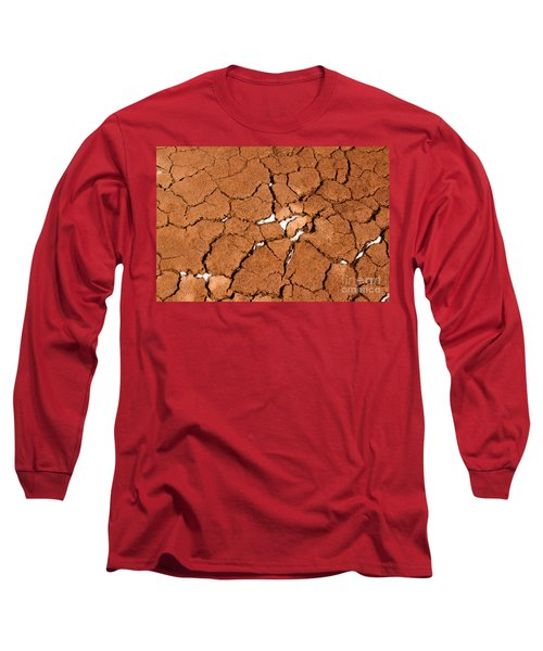 Long Sleeve T-Shirt featuring the photograph Cracked Red Soil  by Les Palenik