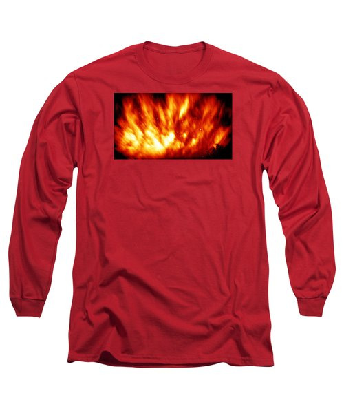 Fire In The Starry Sky Long Sleeve T-Shirt by Paul  Wilford