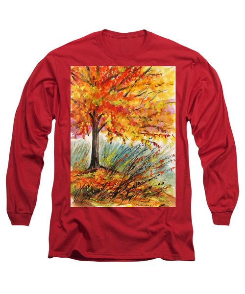Long Sleeve T-Shirt featuring the painting Gold On A Blue Day by John Williams