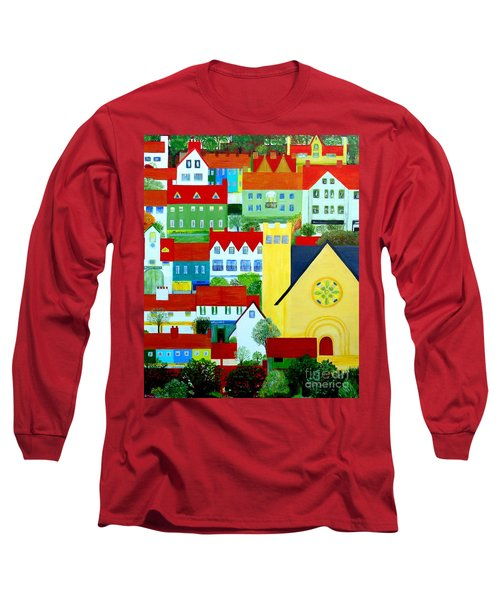 Long Sleeve T-Shirt featuring the painting Hillside Village by Barbara Moignard