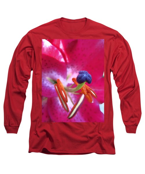 Long Sleeve T-Shirt featuring the photograph Hot Pink Lilly Up Close by Kym Backland