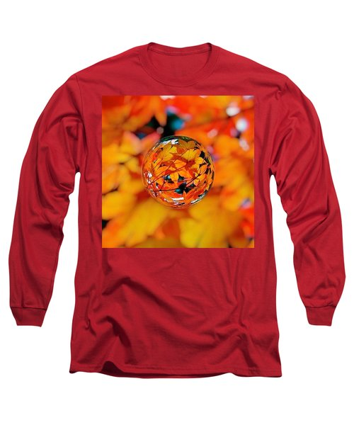 Marbled Orange Maple Leaves Long Sleeve T-Shirt