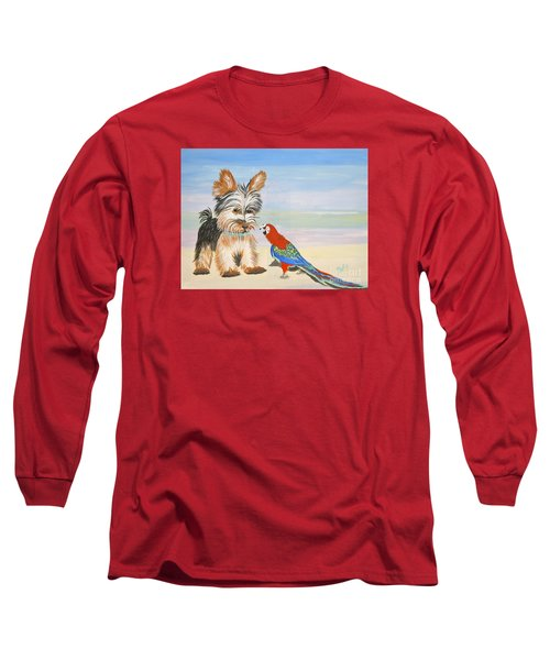 Mouthy Parrot Long Sleeve T-Shirt by Phyllis Kaltenbach