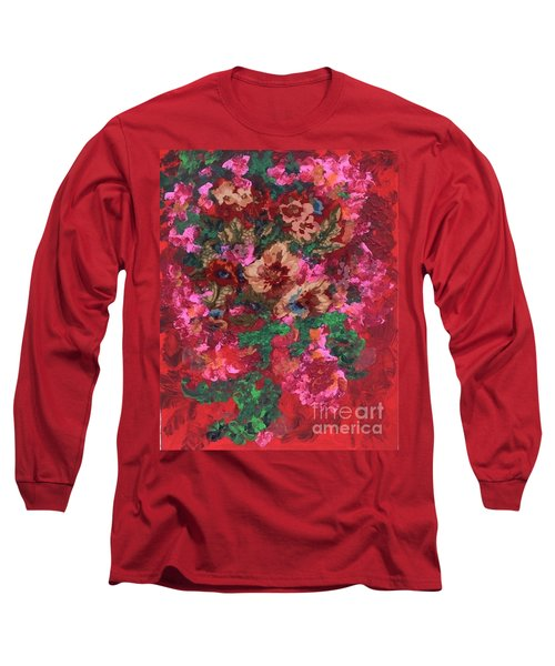 Long Sleeve T-Shirt featuring the painting My Sister's Garden I by Alys Caviness-Gober