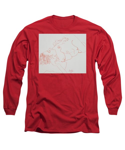 Nude Resting In Red Long Sleeve T-Shirt by Rand Swift