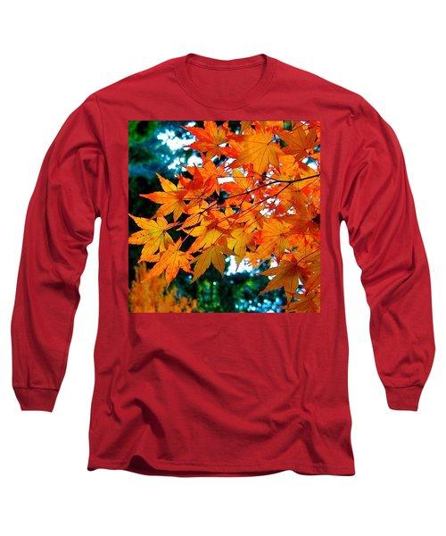 Orange Maple Leaves Long Sleeve T-Shirt