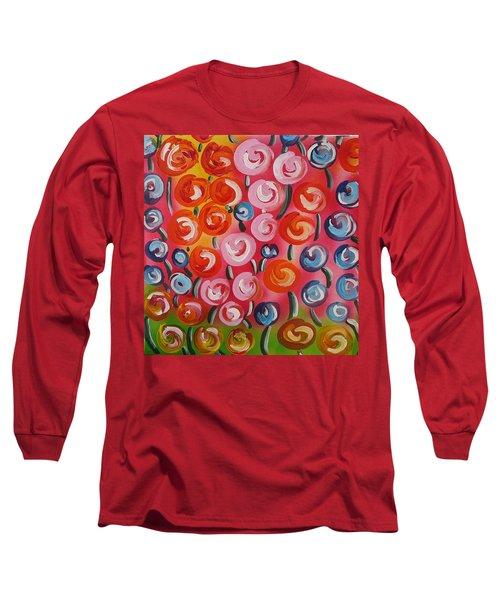 Original Modern Impasto Flowers Painting  Long Sleeve T-Shirt by Gioia Albano