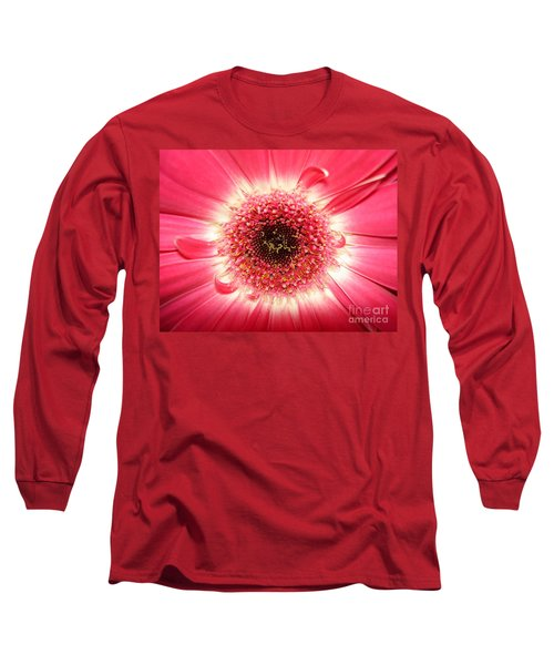 Long Sleeve T-Shirt featuring the photograph Pink Gerbera Daisy Close-up by Kerri Mortenson