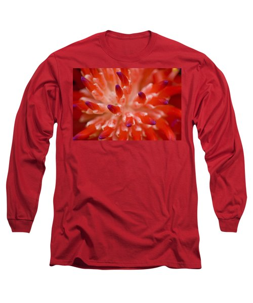 Red Bromeliad Long Sleeve T-Shirt by Rich Franco