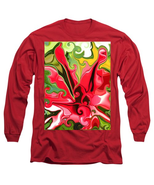 Red Fantasy Lily Long Sleeve T-Shirt by Renate Nadi Wesley