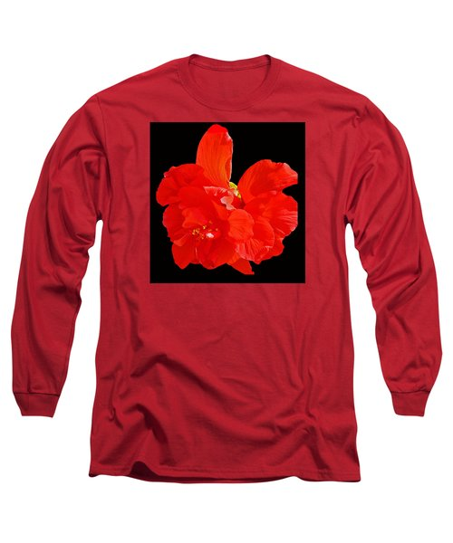 Red Hibiscus Long Sleeve T-Shirt by Cindy Manero