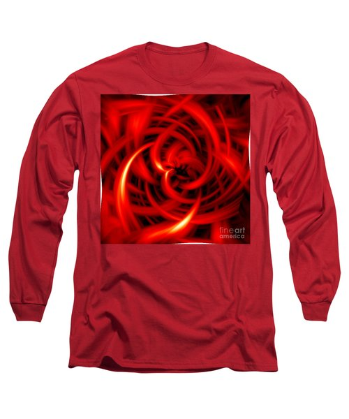Long Sleeve T-Shirt featuring the digital art Red Hot by Davandra Cribbie