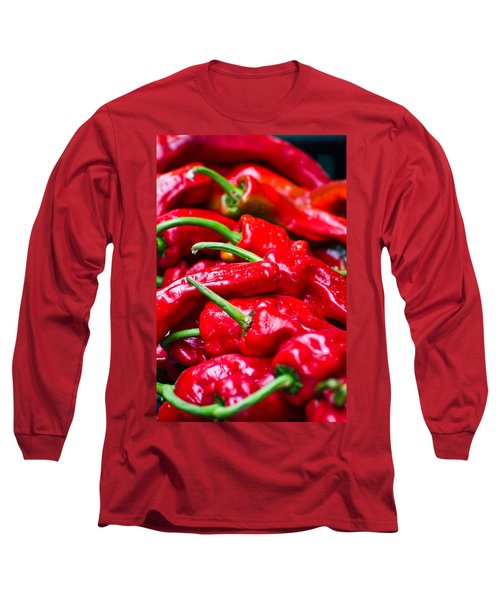 Long Sleeve T-Shirt featuring the photograph Red Peppers by Don Schwartz