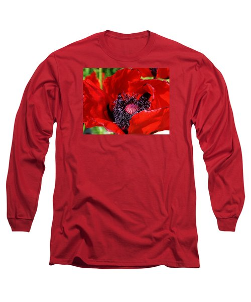 Red Poppy Close Up Long Sleeve T-Shirt