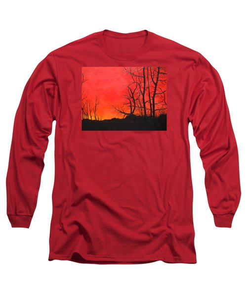 Long Sleeve T-Shirt featuring the painting Red Sky  by Dan Whittemore