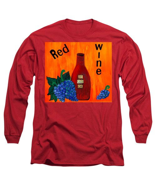 Long Sleeve T-Shirt featuring the painting Red Wine by Cynthia Amaral