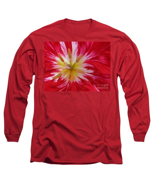 Striped Flaming Tulips. Hot Pink Rio Carnival Long Sleeve T-Shirt