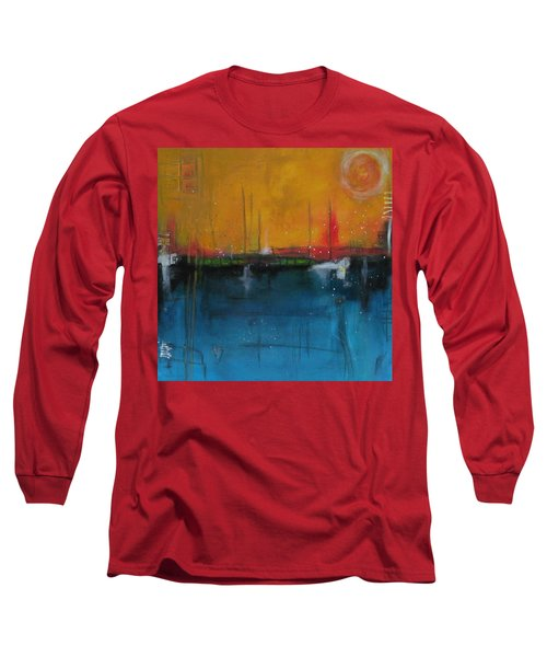 Long Sleeve T-Shirt featuring the painting Sunset At The Lake  # 1 by Nicole Nadeau