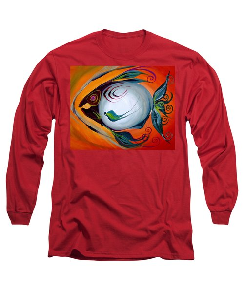 Teal Fish With Orange Long Sleeve T-Shirt