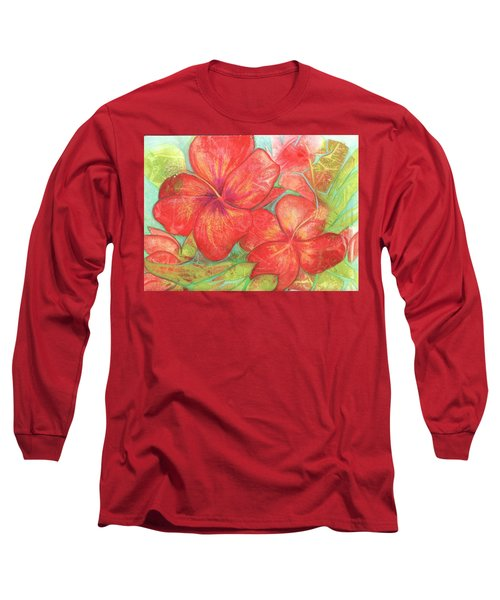 Two Hibiscus Blossoms Long Sleeve T-Shirt by Carla Parris