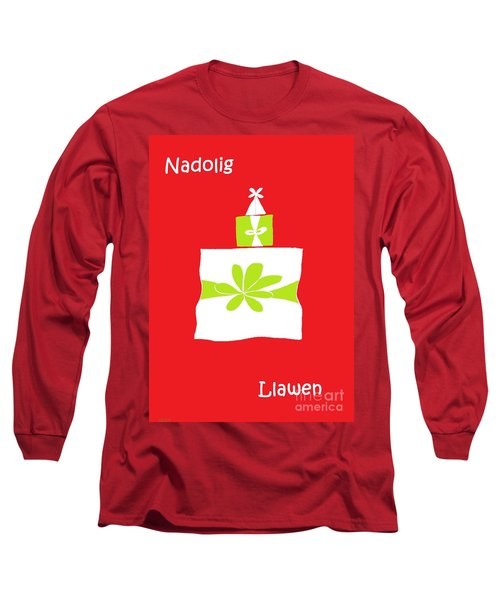 Long Sleeve T-Shirt featuring the digital art Welsh Merry Christmas Red by Barbara Moignard