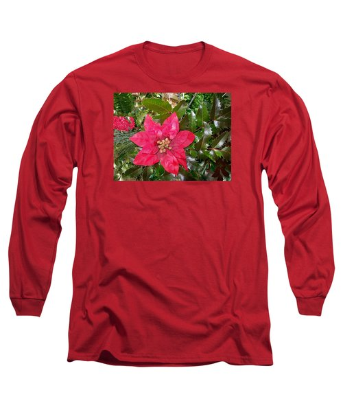 Christmas Poinsettia Long Sleeve T-Shirt by Sharon Duguay