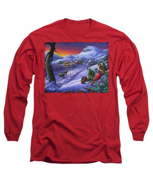 Christmas Sleigh Ride Winter Landscape Oil Painting - Cardinals Country Farm - Small Town Folk Art Long Sleeve T-Shirt