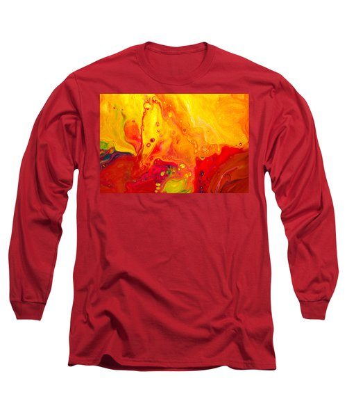 Melancholy - Abstract Warm Mixed Media Painting Long Sleeve T-Shirt by Modern Art Prints