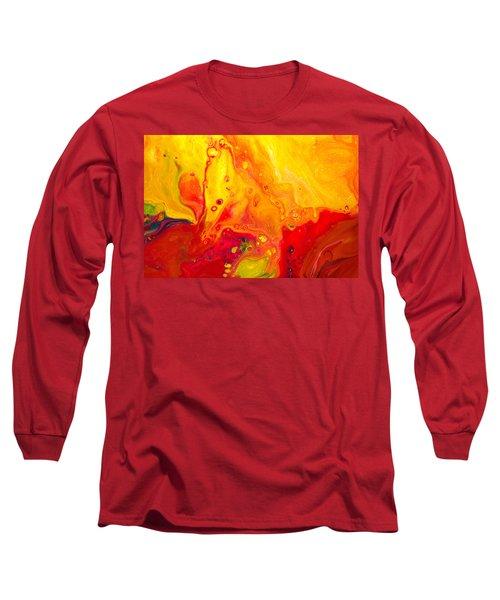 Melancholy - Abstract Warm Mixed Media Painting Long Sleeve T-Shirt