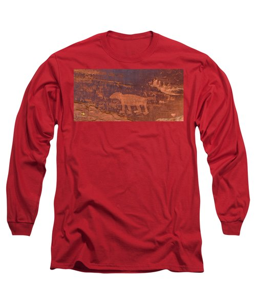 Ancient Native American Petroglyphs On A Canyon Wall Near Moab. Long Sleeve T-Shirt