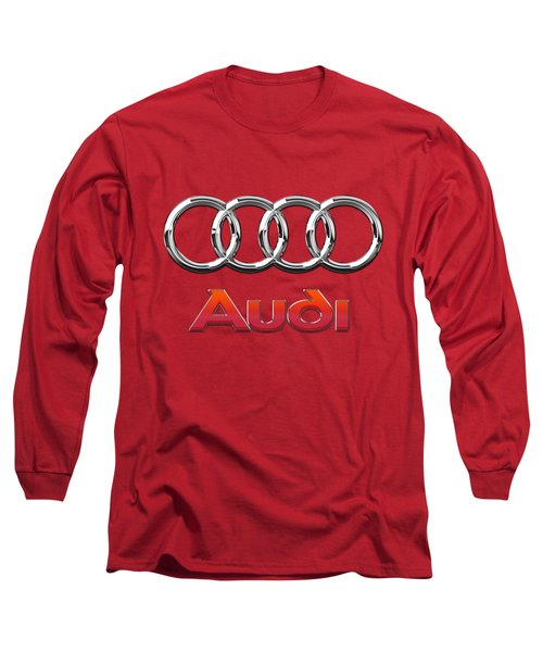 Audi - 3d Badge On Red Long Sleeve T-Shirt by Serge Averbukh