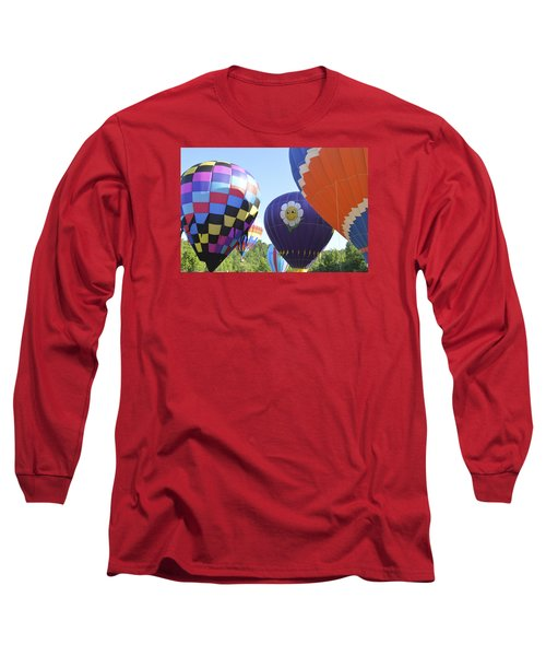 Balloons Waiting For The Weather To Clear Long Sleeve T-Shirt by Linda Geiger