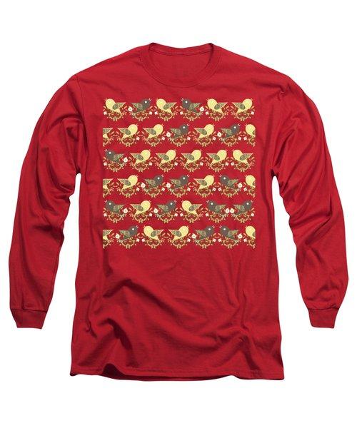 Birds Pattern Long Sleeve T-Shirt