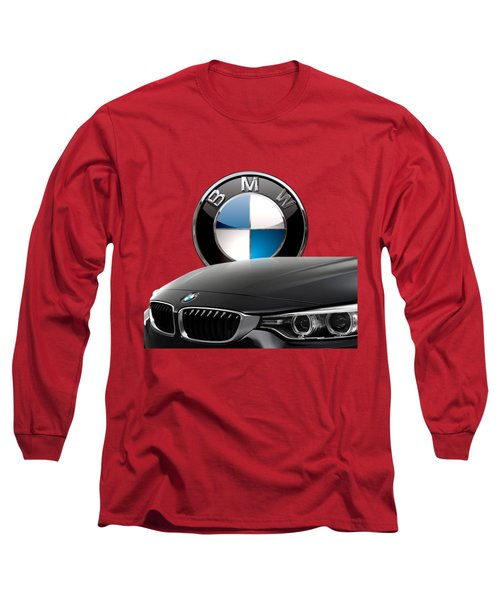 Black B M W - Front Grill Ornament And 3 D Badge On Red Long Sleeve T-Shirt by Serge Averbukh