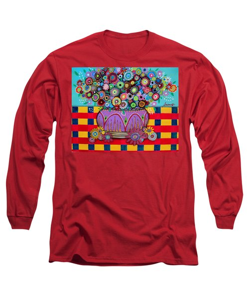 Long Sleeve T-Shirt featuring the painting Blooms by Pristine Cartera Turkus