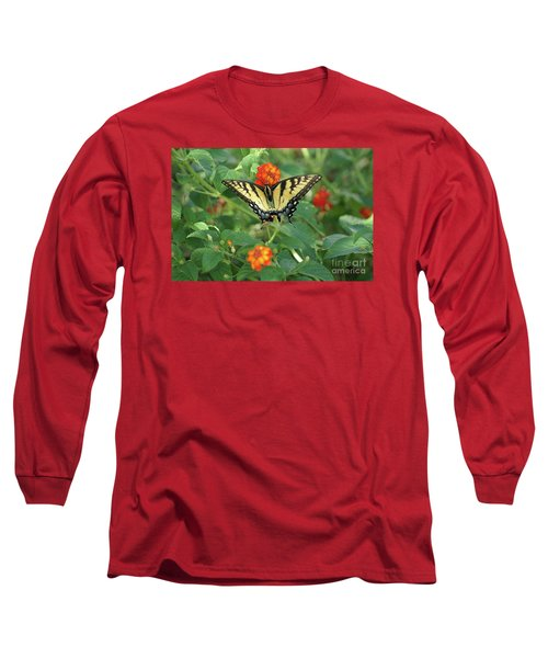 Butterfly And Flower Long Sleeve T-Shirt by Debra Crank