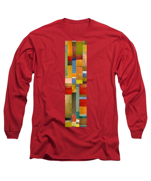 Color Panels With Green Grass Long Sleeve T-Shirt