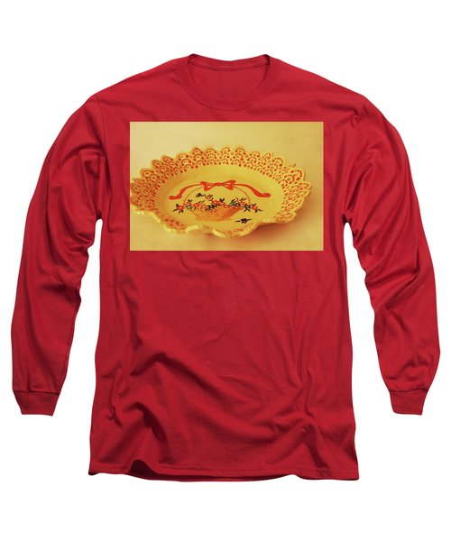 Decorated Plate With A Basket And Flowers Long Sleeve T-Shirt by Itzhak Richter