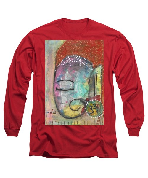 Long Sleeve T-Shirt featuring the mixed media Ganesha by Prerna Poojara