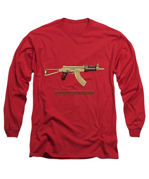 Gold A K S-74 U Assault Rifle With 5.45x39 Rounds Over Red Velvet   Long Sleeve T-Shirt by Serge Averbukh