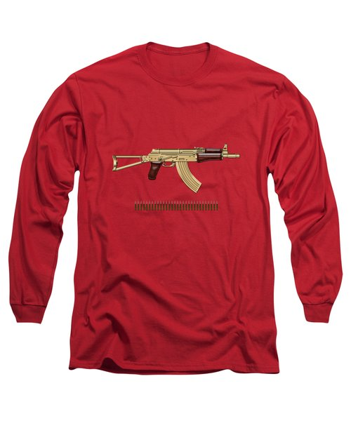 Gold A K S-74 U Assault Rifle With 5.45x39 Rounds Over Red Velvet   Long Sleeve T-Shirt